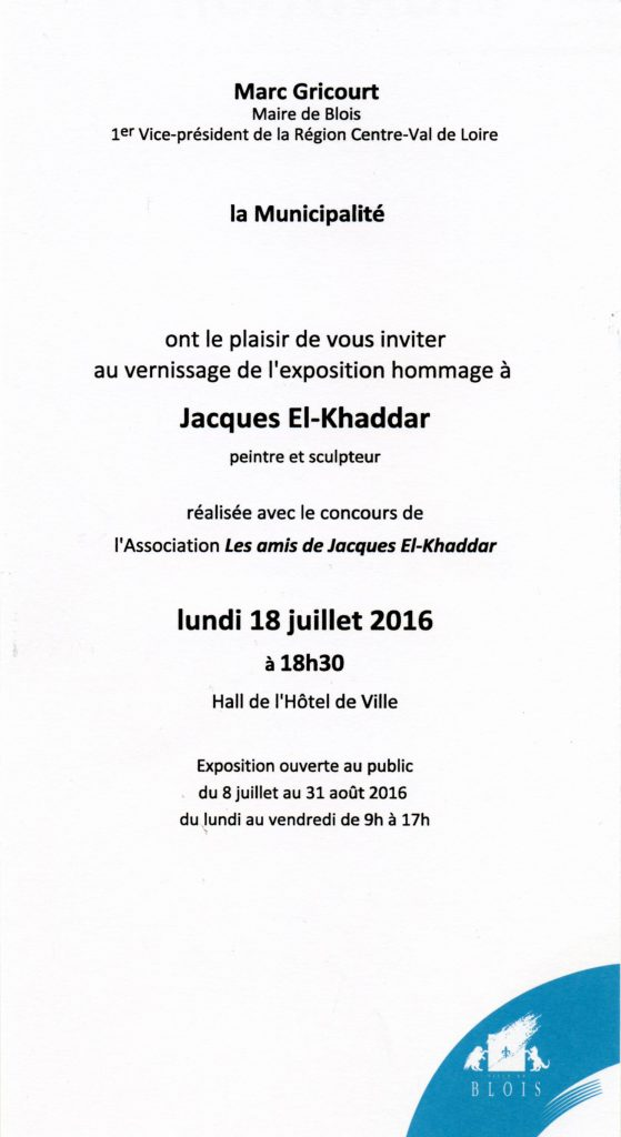 Invitation vernissage Expo J. El Khaddar Mairie de Blois 2016